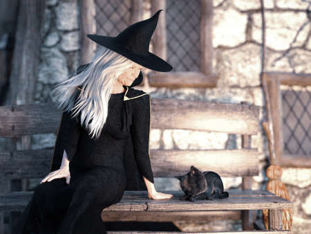 3D rendering of an old friendly looking witch sitting on a bench outside her house with a black cat beside her.
