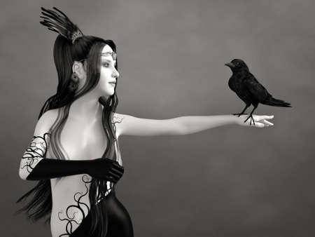 3D rendering of a surreal bodypainted woman with long black hair holding a black crow. The image is black and white or monochrome.