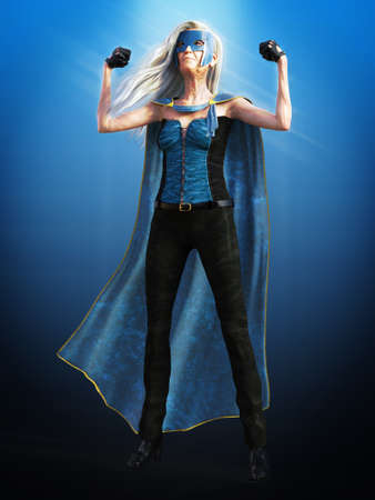 3D rendering of an old woman with long grey hair posing as a superhero wearing a mask and cape. Stock Photo