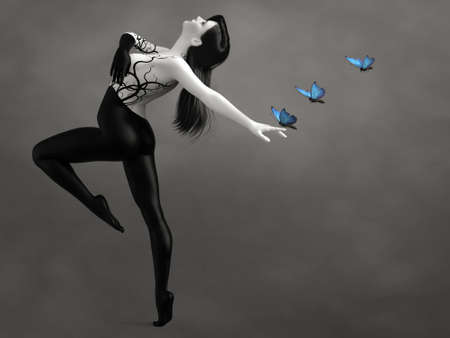 3D rendering of a surreal bodypainted woman dancing with blue butterflies. The image is black and white or monochrome besides the butterflies.