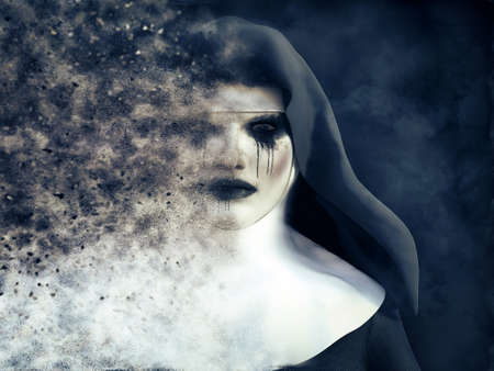 3D rendering of a ghost nun or demon that is dissolving in smoke or vaporizing with a dark mysterious background.