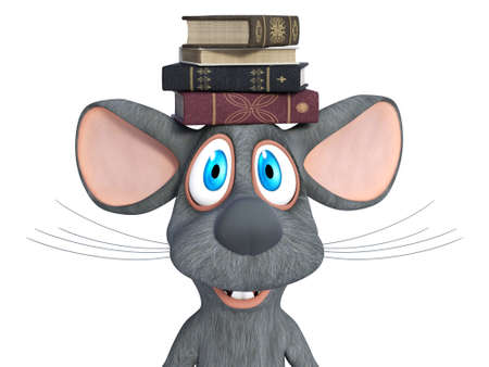 3D rendering of a cute smiling cartoon mouse balancing a pile of books on his head. White background. Stock Photo