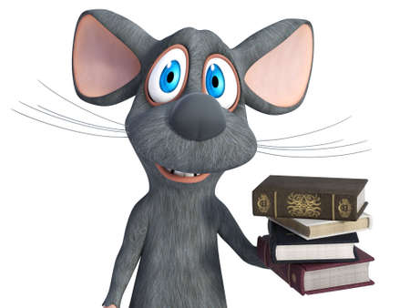 3D rendering of a cute smiling cartoon mouse holding a pile of books in its hand. White background.