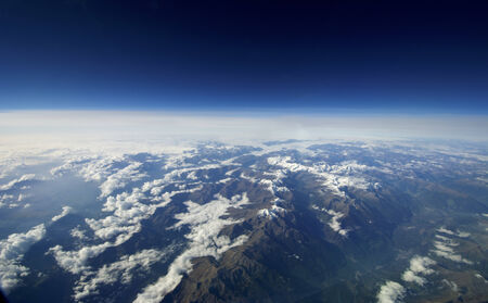 heaven on earth: Aerial view of blue sky and clouds over the earth