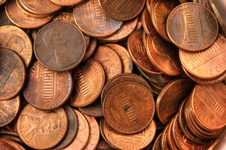 Colored photograph of a pile of pennies.  photo