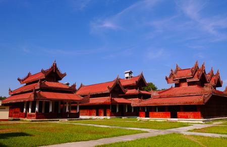 royals: MANDALAYMYANMAR - DECEMBER 15, 2014: Wide angle of Mandalay Palace on a sunny day