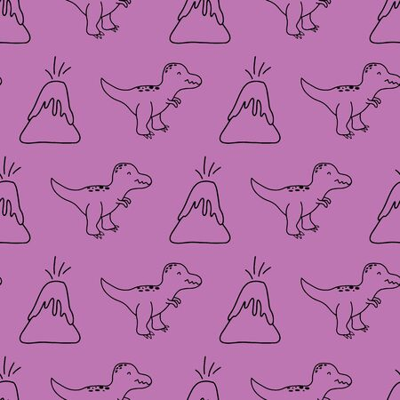 Super cute hand drawn dinosaurs in a seamless repeat vector pattern. Great for kids products.
