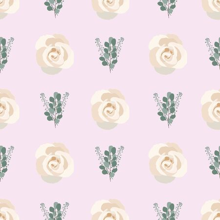 light purple Eucalyptus Rose Collection seaml stock Иллюстрация
