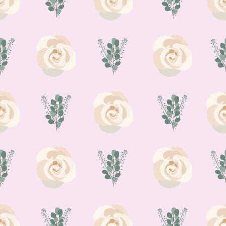 light purple Eucalyptus Rose Collection seaml stock Illustration