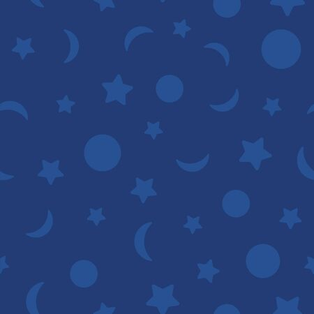 seamless repeat vector pattern featuring the moon phases and stars. Great for fabrics, backgrounds, wrapping paper and more.