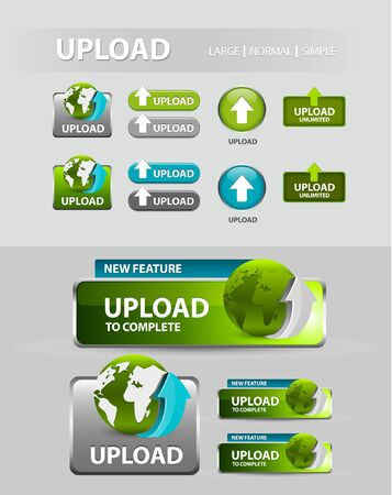 upload Button, collection of upload icons and buttons Vector
