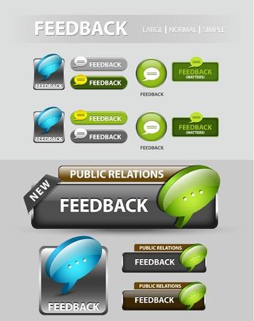web survey: Bot�n de Feedback, la colecci�n de �conos de respuesta y los botones Vectores