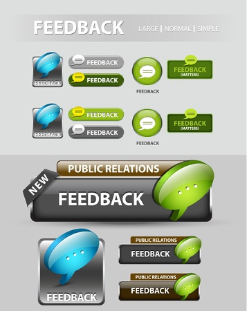 Feedback button, collection of feedback icons and buttons  Vettoriali