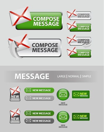 compose message button, collection of compose message icons and buttons Vector