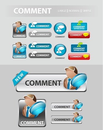 comment button, collection of Comment speech icons and buttons Illustration
