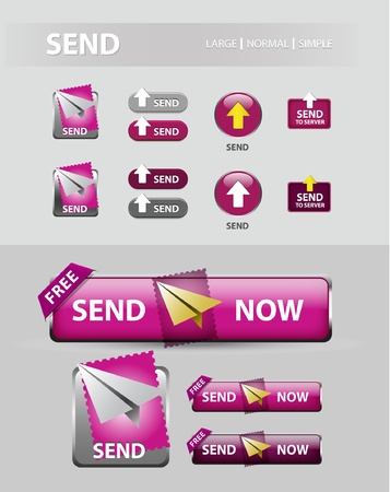 send now button, collection of mail message icons and buttons