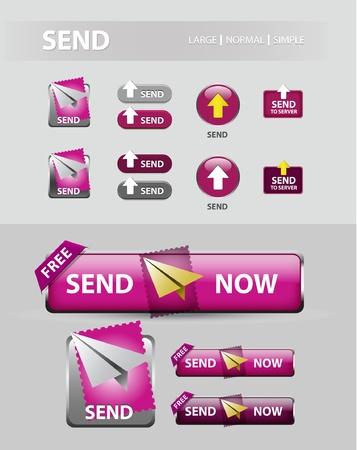 stuur knop Nu, het verzamelen van e-mailbericht pictogrammen en knoppen