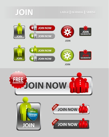 Join now button, collection of user registration icons and buttons