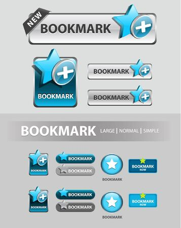 add to bookmark button, collection of favorite icons and buttons  Illustration