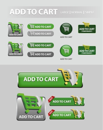 add to cart button, collection of shopping icons and buttons  Vector