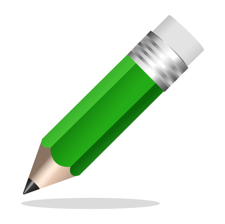 Green pencil icon Vector