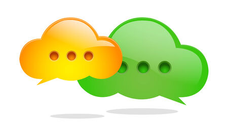 Green and Orange Speech Bubbles Icon Vector