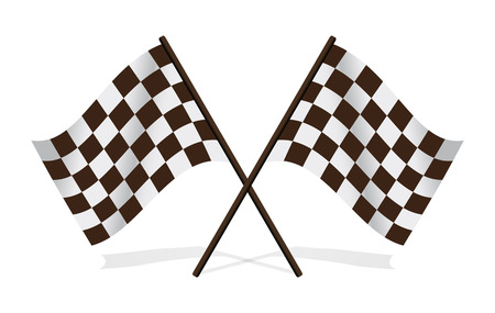 two crossed checkered flags:  leather football (soccer) Flags, isolated on white, vector illustration Illustration