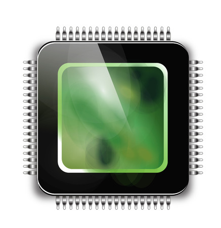 CPU - Computer chip or microchip. Stylized icons.  Vector