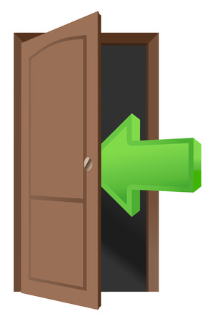 Brown wood door and arrow icon Illustration