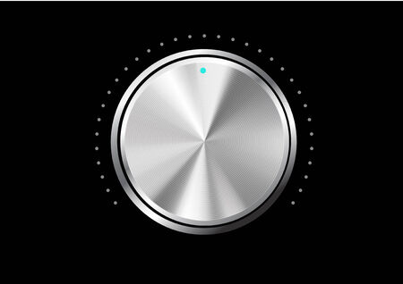 Technology music button (volume settings, sound control knob) with metal texture (stainless, steel, chrome), shadow and light background for internet sites, web interfaces (ui) and applications (apps)  Vector