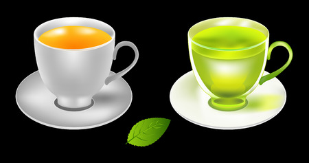 ochtend dauw: Tea cup vector illustration