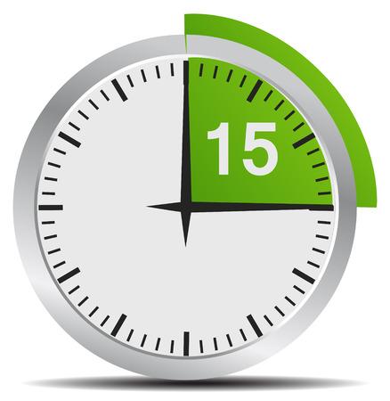 이동하려면 시계 15 분 - 밝은 크롬 시계 흰색 배경에 고립 일러스트