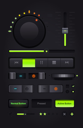 Dark Web UI Elements. Buttons, Switches, bars, power buttons, sliders. Vector illustration