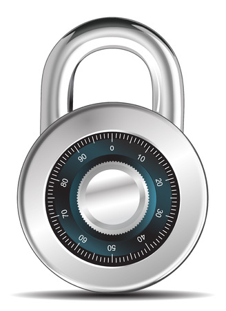 Vector illustration of security concept with locked  combination pad lock Vectores