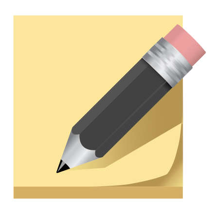 post it note pencil icon Vector