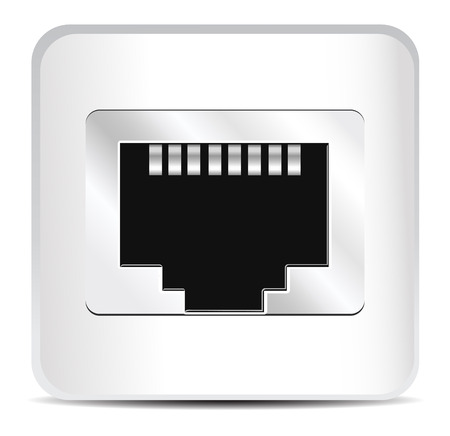 ethernet cable: Shiny Network Port Icon. Vector Illustration of Socket