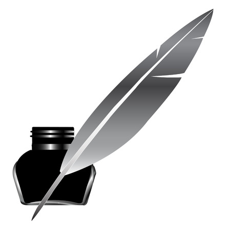 Quill Pen Inkwell Vector