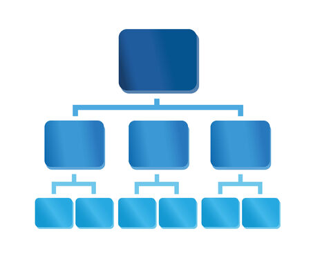 Organization chart with colorful glossy elements. Useful for presentations