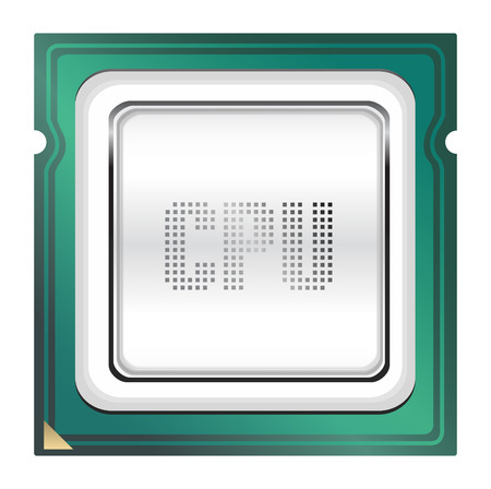 main part: CPU (central processing unit) - Computer chip or microchip. Stylized icons
