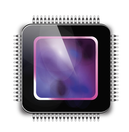 CPU - Puce ou puce électronique. Icônes stylisées. Vecteurs