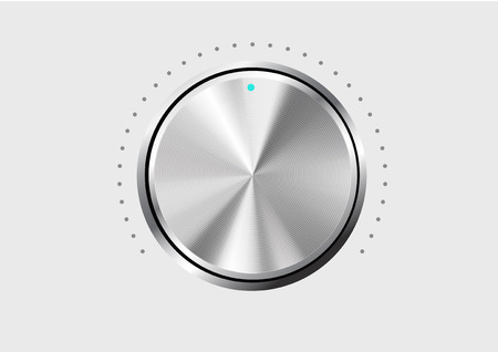 tumbler: Technology music button (volume settings, sound control knob) with metal texture (stainless, steel, chrome), shadow and light background for internet sites, web interfaces (ui) and applications (apps)