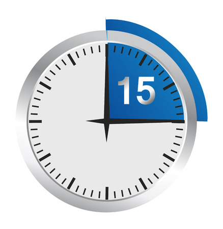 Clock 15 Minutes To Go - Bright Chrome Clock isolated on White