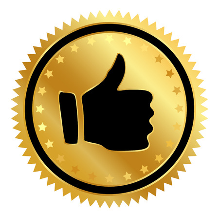 thumb up sticker isolated on a white  Vector