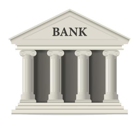 edificio banco: Icono de edificio del banco blanco Vectores