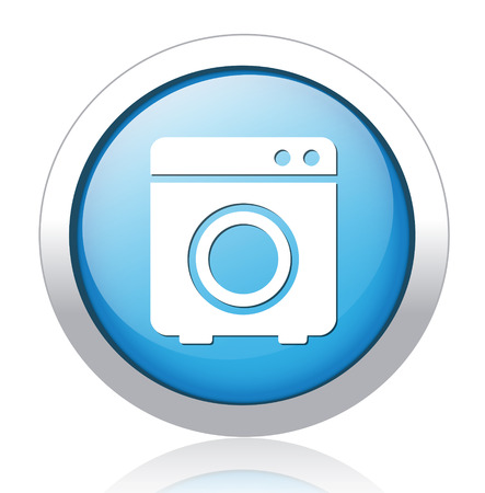 Shiny glossy icon with white design on Blue background, washer button