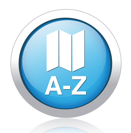 a to z list icon glossy blue button Illustration
