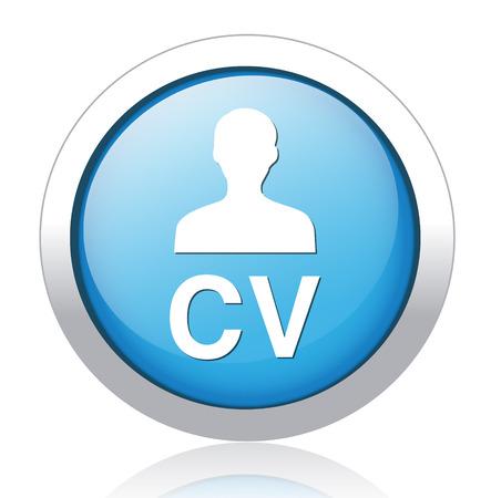 cv: Blue round CV icon button Illustration