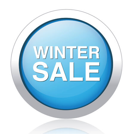 winter sale blue glossy icon isolated on white background Vector