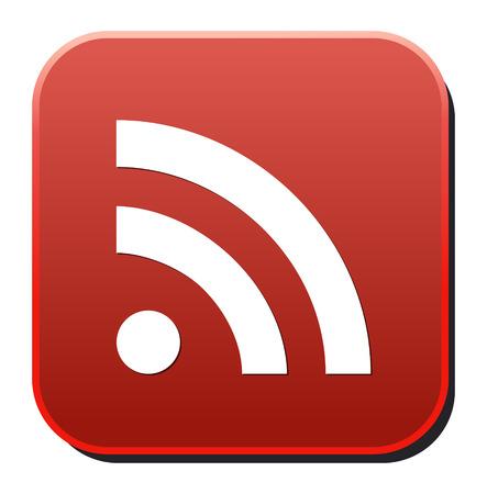 syndication: bot�n brillante Web con el signo RSS feed Vectores