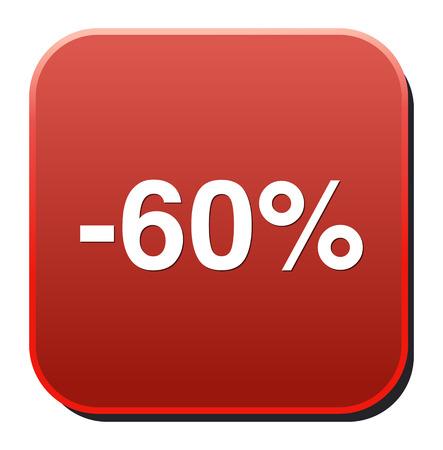 60: 60 por cento de desconto
